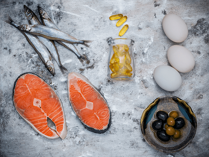 Omega-3 in salmon, cod-liver-oil, eggs and olives