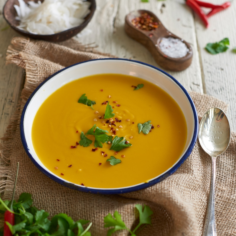 Coconut and Butternut Squash Soup recipe from the Rejuvenated Youth Plan Book