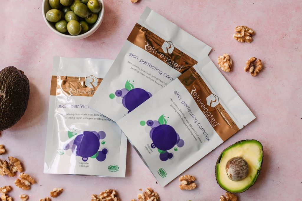 pouches of vegan collagen booster: skin perfecting complex